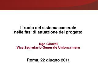 Il ruolo del sistema camerale  nelle fasi di attuazione del progetto Ugo Girardi