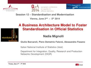 A Business Architecture Model to Foster Standardisation in Official Statistics
