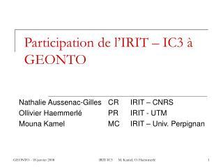 Participation de l IRIT   IC3   GEONTO