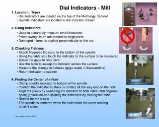 Dial Indicators - Mill