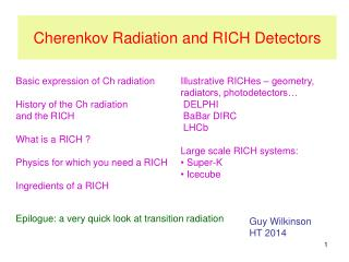 Cherenkov Radiation and RICH Detectors