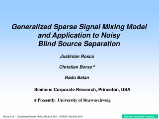 Generalized Sparse Signal Mixing Model and Application to Noisy  Blind Source Separation