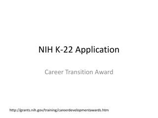NIH  K-22  Application
