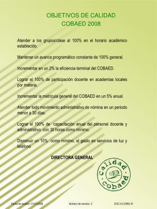 OBJETIVOS DE CALIDAD COBAED 2007