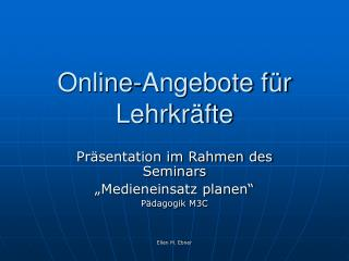 Online-Angebote für Lehrkräfte