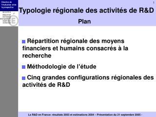 Typologie r�gionale des activit�s de R&D