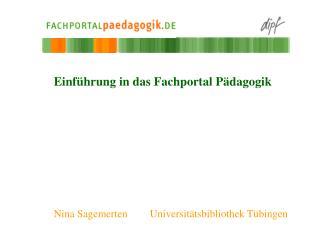 Einführung in das Fachportal Pädagogik