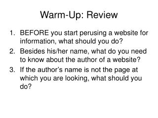 Warm-Up: Review
