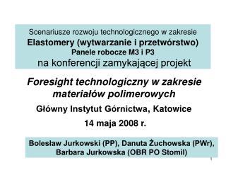 Scenariusze rozwoju technologicznego w zakresie Elastomery wytwarzanie i przetw rstwo Panele robocze M3 i P3  na konfere
