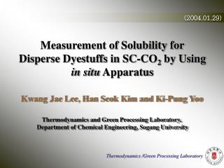 Measurement of Solubility for Disperse Dyestuffs in SC-CO 2  by Using  in situ  Apparatus