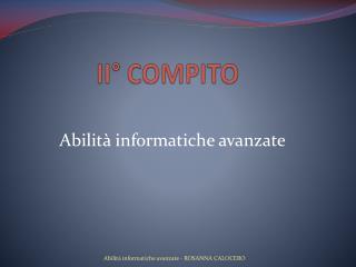 II°  COMPITO