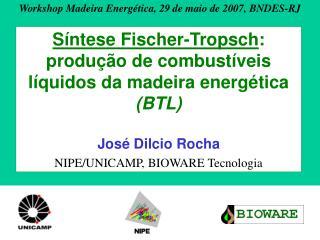 S ntese Fischer-Tropsch: produ  o de combust veis l quidos da madeira energ tica BTL  Jos  Dilcio Rocha NIPE