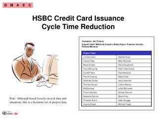 HSBC Credit Card Issuance Cycle Time Reduction