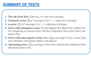 SUMMARY OF TESTS