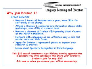 Why join Division 1?   Great Benefits