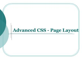Advanced CSS - Page Layout