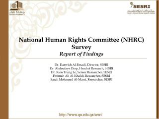 National Human Rights Committee (NHRC) Survey Report of Findings