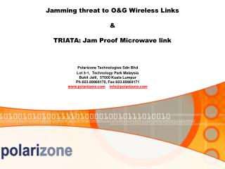 Jamming threat to OG Wireless Links    TRIATA: Jam Proof Microwave link