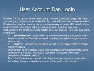 User Account Dan Login