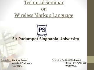 Technical Seminar on Wireless Markup Language