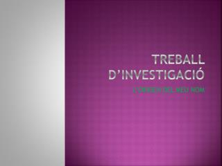TREBALL D'INVESTIGACIÓ