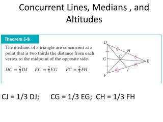 CJ = 1/3 DJ;CG = 1/3 EG;  CH = 1/3 FH
