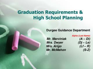 Graduation Requirements & High School Planning