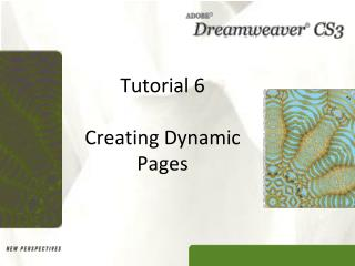 Tutorial 6 Creating Dynamic Pages