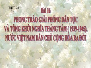 Bài 16 PHONG TRÀO GIẢI PHÓNG DÂN TỘC VÀ TỔNG KHỞI NGHĨA THÁNG TÁM ( 1939-1945).