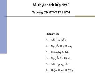 Bài thực hành lớp NVSP  Truong CĐ GTVT TP.HCM