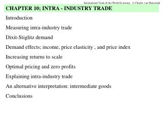 Introduction Measuring intra-industry trade Dixit-Stiglitz demand