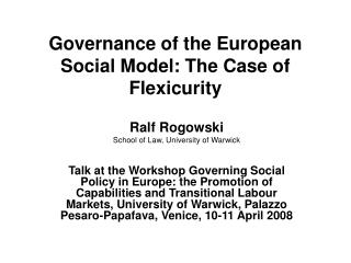 Governance of the European Social Model: The Case of Flexicurity