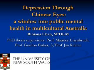 Depression Through  Chinese Eyes:  a window into public mental health in multicultural Australia