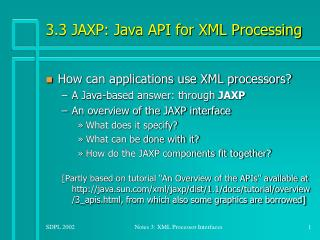 3.3 JAXP: Java API for XML Processing