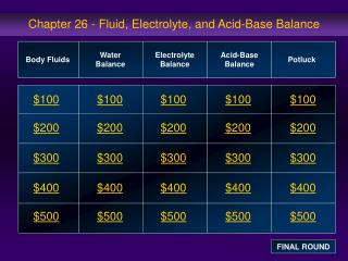 Chapter 26 - Fluid, Electrolyte, and Acid-Base Balance
