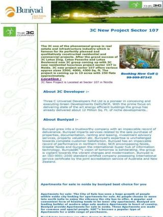 3C New Project Sector 107 In Noida || 99-999-87342