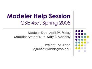 Modeler Help Session CSE 457, Spring 2005