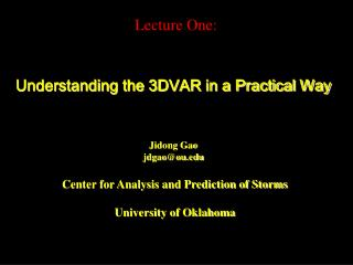 Understanding the 3DVAR in a Practical Way