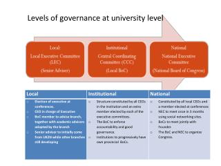 Levels of governance at university level