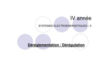 IV année SYSTEMES ELECTROENERGETIQUES – II