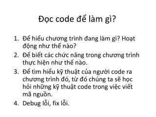 Đọc  code  để làm gì ?