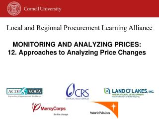 MONITORING AND ANALYZING PRICES:  12. Approaches to Analyzing Price Changes