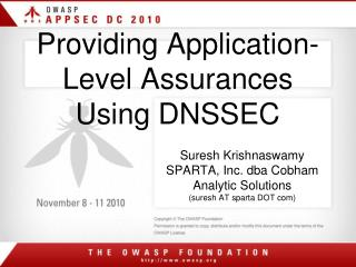Providing Application-Level Assurances Using DNSSEC