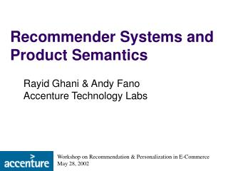 Recommender Systems and Product Semantics