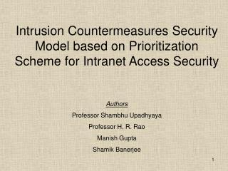 Authors Professor Shambhu Upadhyaya  Professor H. R. Rao Manish Gupta Shamik Banerjee