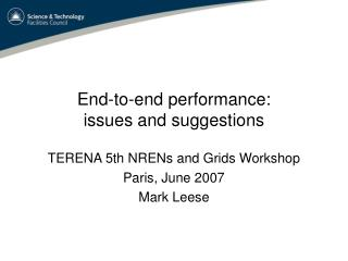 End-to-end performance: issues and suggestions