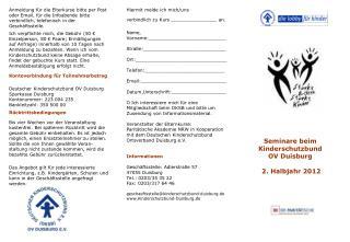 Seminare beim Kinderschutzbund  OV Duisburg  2. Halbjahr 2012