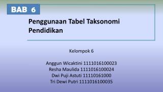 Penggunaan Tabel Taksonomi Pendidikan