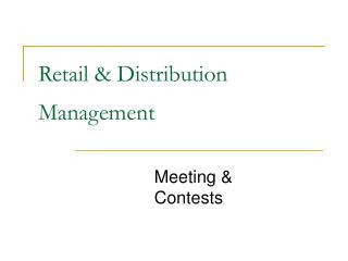 Retail & Distribution Management