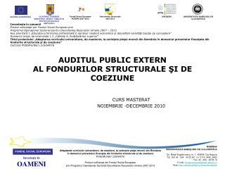 AUDITUL PUBLIC EXTERN AL FONDURILOR STRUCTURALE  ŞI DE COEZIUNE